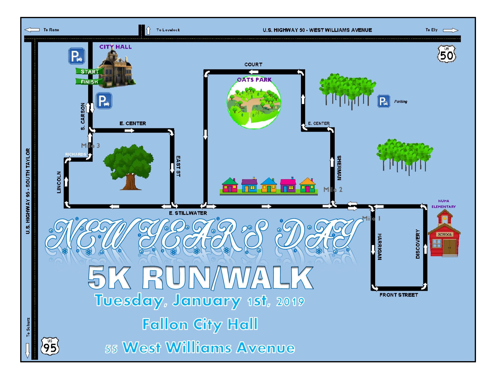 New Years 5K (2019) - Course Map (Digital)