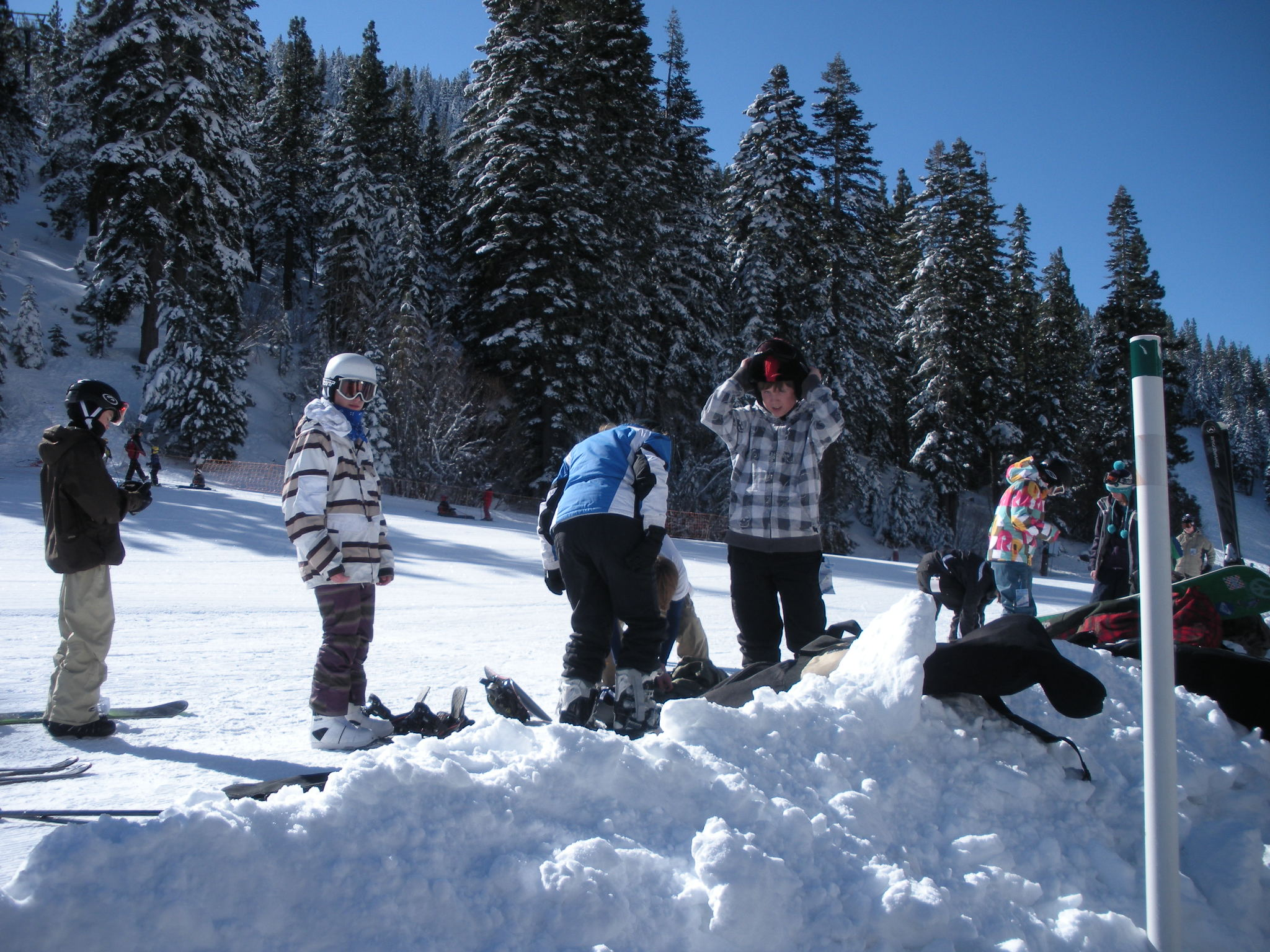 Kids prepare for snowboarding class