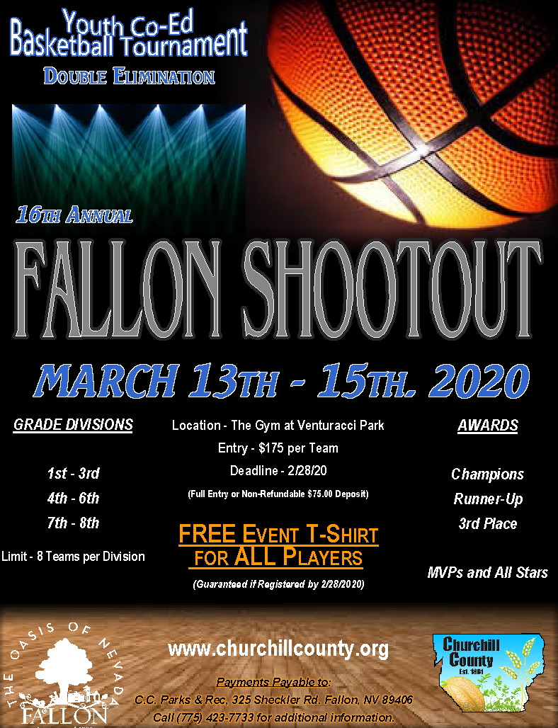 Fallon Shootout Coed Youth Basketball Tournament Flyer.  March 13th through 15th.  Grades 1st throug