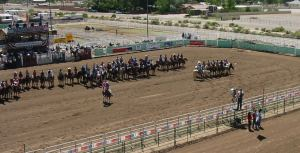 Line of People on Horses at Senior Rodeo