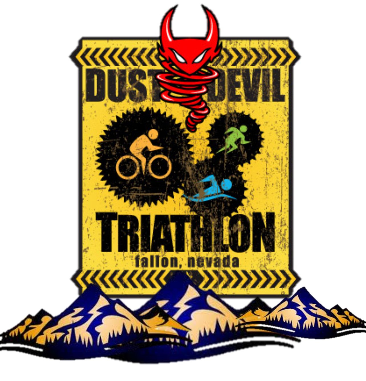 Dust Devil Sprint Triathlon Logo - Banner in front of mountains with dust devil image