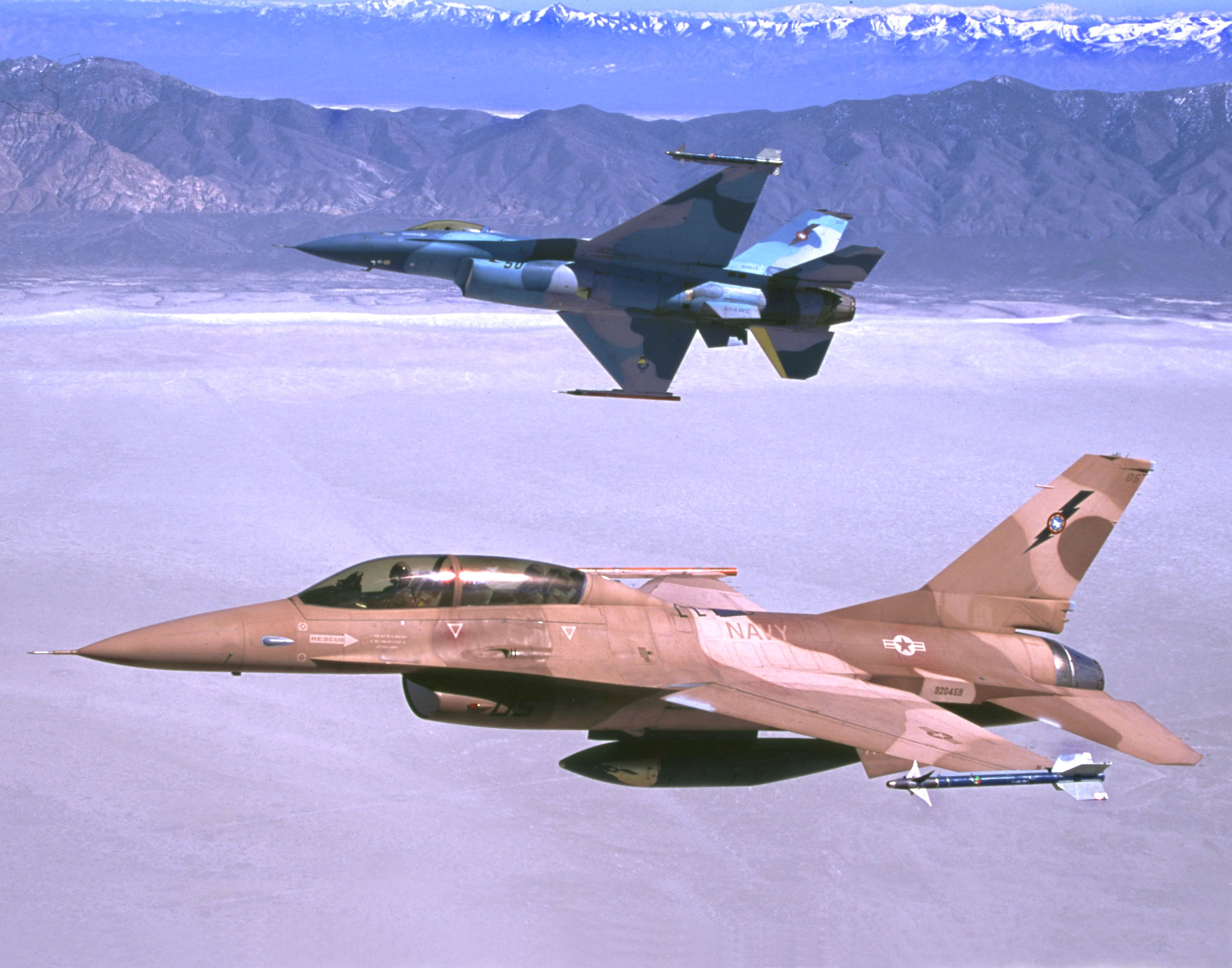 Jets in flight over the playa.